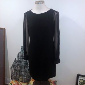 ELIE TAHARI BLACK SHEER LONG SLEEVE CHAIN DRESS 6